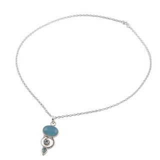 Blue Topaz and Chalcedony Pendant Necklace, 'Sentimental Journey' (India)