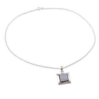 Rainbow Moonstone Pendant Necklace, 'Perfect Poise' (India)