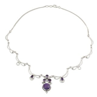 Amethyst Pendant Necklace, 'Radiant Princess In Purple' (India)
