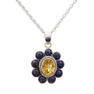 Lapis Lazuli and Citrine Pendant Necklace, 'Sunny Blue' (India)