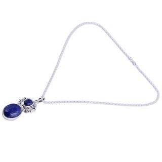 Lapis Lazuli Pendant Necklace, 'Whimsical Tendrils' (India)