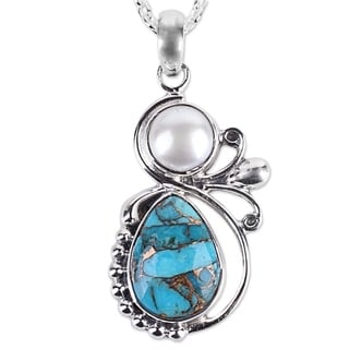 Cultured Pearl Pendant Necklace, 'Joyous Blue Sky' (India)