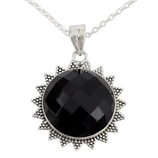 Onyx Pendant Necklace, 'Black Sun Halo' (India)