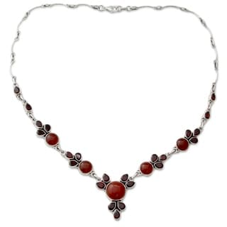 Garnet And Carnelian Pendant Necklace Rosy Blossom India 7 6 X 9 6