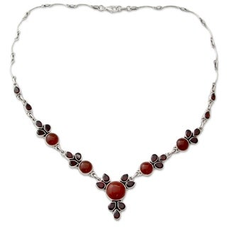 Garnet and Carnelian Pendant Necklace, 'Rosy Blossom' (India)