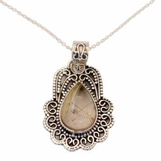 Rutile Quartz Pendant Necklace, 'Traces of Gold' (India)