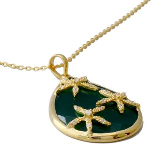 Gold Vermeil Onyx Pendant Necklace, 'Green Floral Kiss' (India)