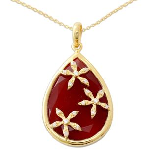 Gold Vermeil Onyx Pendant Necklace, 'Red Floral Kiss' (India)