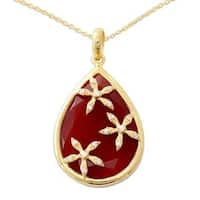 Handmade Gold Vermeil Onyx Pendant Necklace, 'Red Floral Kiss' (India) - Red