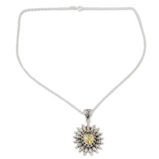 Handmade Citrine Pendant Necklace, 'Eternal Radiance' (India) - White