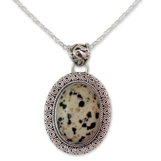 Dalmatian Jasper Pendant Necklace, 'Calm Determination' (India)