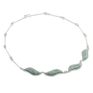 Jade Pendant Necklace, 'Floating In the Breeze' (Guatemala)