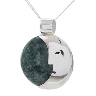 Jade Pendant Necklace, 'Face of the Moon' (Guatemala)