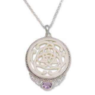 Amethyst Pendant Necklace, 'Circle of Power' (Indonesia)
