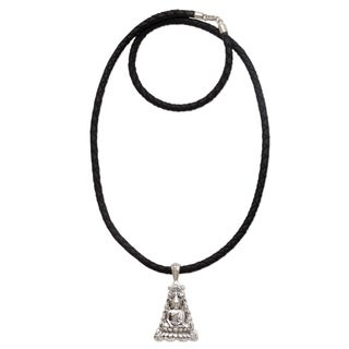 Sterling Silver Pendant Necklace, 'Triangle Padma Buddha' (Indonesia)