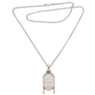 Amethyst and Cultured Pearl Pendant Necklace, 'Blessed Buddha' (Indonesia)