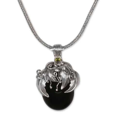 """Onyx and Peridot Pendant Necklace, 'Leaf Fairy' - 7'6"""" x 9'6"""""""
