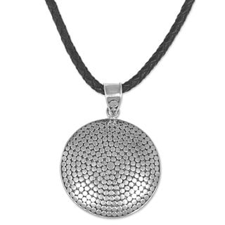 Sterling Silver and Leather Pendant Necklace, 'Silver Gong' (Indonesia)