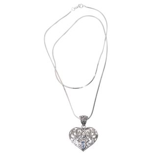 Blue Topaz Pendant Necklace, 'Tears From the Heart' (Indonesia)