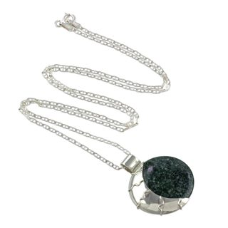 Jade Pendant Necklace Green Place Of The Moon 7 6 X 9 6