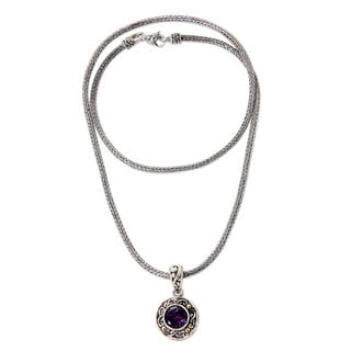 Gold Accent Amethyst Pendant Necklace, 'Deep Purple Glow' (Indonesia)