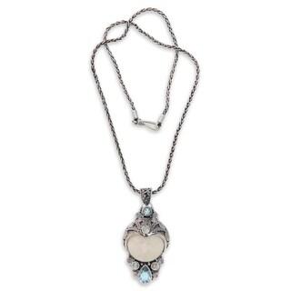 "Handmade Blue Topaz and Bone Pendant Necklace, 'Dayang Sumbi' (Indonesia) - 7'6"" x 9'6"""