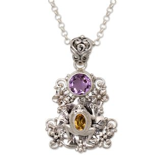 Amethyst and Citrine Pendant Necklace, 'Rainforest Frog' (Indonesia)