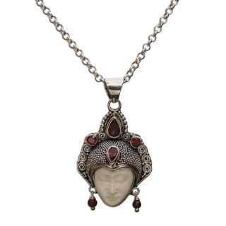 Handmade Garnet Pendant Necklace, 'Queen of Sumatra' (Indonesia)