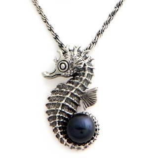Cultured Pearl Pendant Necklace, 'Sea Horse Legend' (Indonesia)