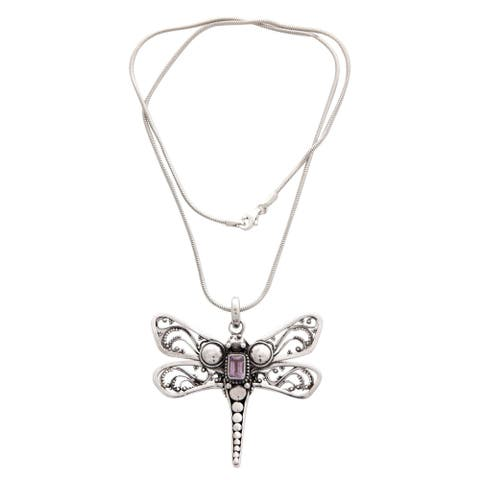 """Handmade Amethyst Pendant Necklace, 'Lavender Dragonfly' (Indonesia) - 7'6"""" x 9'6"""""""