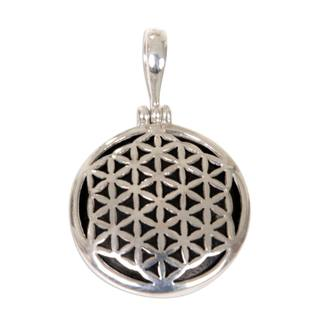 Sterling Silver and Wood Pendant, 'Flower of Life' (Indonesia)