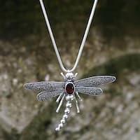 Garnet Pendant Necklace, 'Enchanted Dragonfly' (Indonesia)