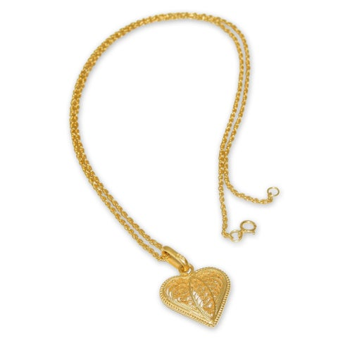 Handmade Gold Plated Filigree Pendant Necklace, 'Lace Sweetheart' (Peru)