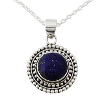 Lapis Lazuli Pendant Necklace, 'Royal Sunset' (India)