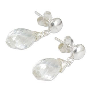 Quartz Dangle Earrings, 'From Chiang Mai With Love' (Thailand)