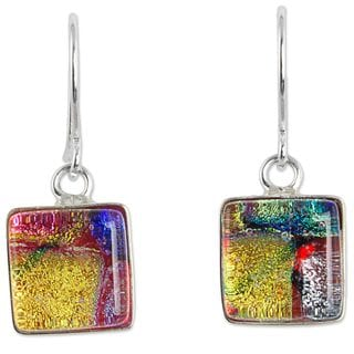 Dichroic Glass Dangle Earrings, 'Luminous Squares' (Mexico)