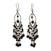 Handmade Onyx Chandelier Earrings, 'Shadow Drops' (Indonesia)