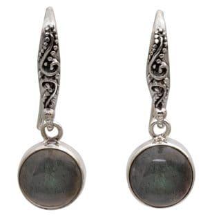 Labradorite Dangle Earrings, 'Purity of Moonlight' (Indonesia)