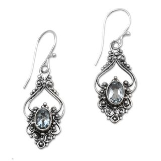 Blue Topaz Dangle Earrings, 'Sigh' (Indonesia)