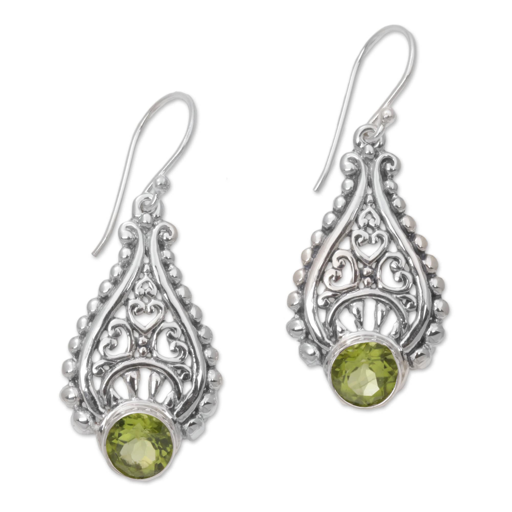 Handmade Peridot Dangle Earrings