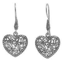 Handmade Sterling Silver Dangle Earrings, 'Open Hearts' (Indonesia)