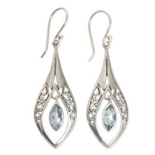 Blue Topaz Dangle Earrings, 'Blue Teardrops' (Indonesia)