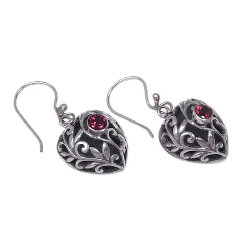 Garnet Dangle Earrings, 'Heart in the Forest' (Indonesia)