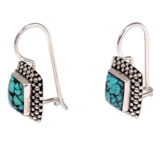 Turquoise Drop Earrings, 'Blue Shrine' (Indonesia)