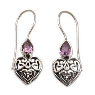 Sterling Silver Dangle Earrings, 'Heart'S Desire' (Indonesia)