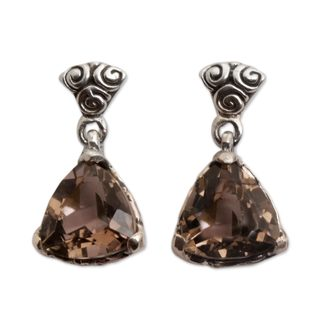 Smoky Quartz Dangle Earrings, 'Mystic Trinity' (Indonesia)