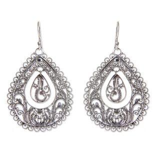 Sterling Silver Filigree Earrings, 'Water' (Indonesia)
