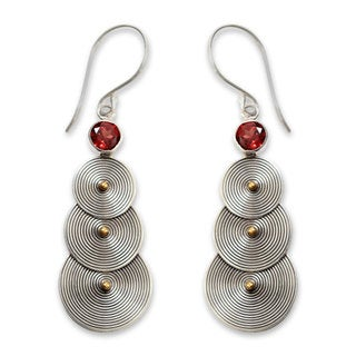 18K Gold Accent and Garnet Dangle Earrings, 'Ripple Effect' (Indonesia)