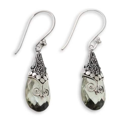 Handmade Prasiolite Dangle Earrings, 'Drop of Nature' (Indonesia)