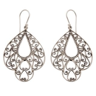 Sterling Silver Filigree Earrings, 'Bali Complexion' (Indonesia)